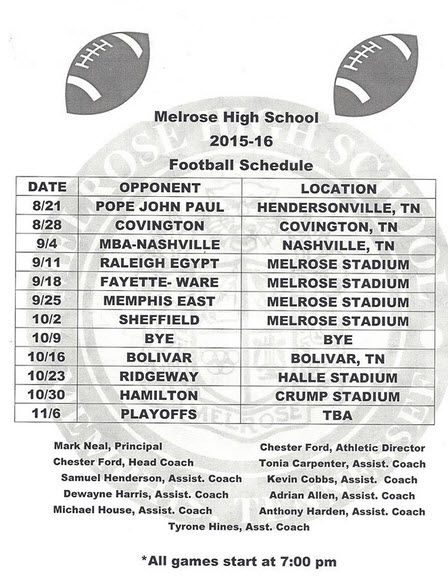 Melrose 2015-2016 Football Schedule