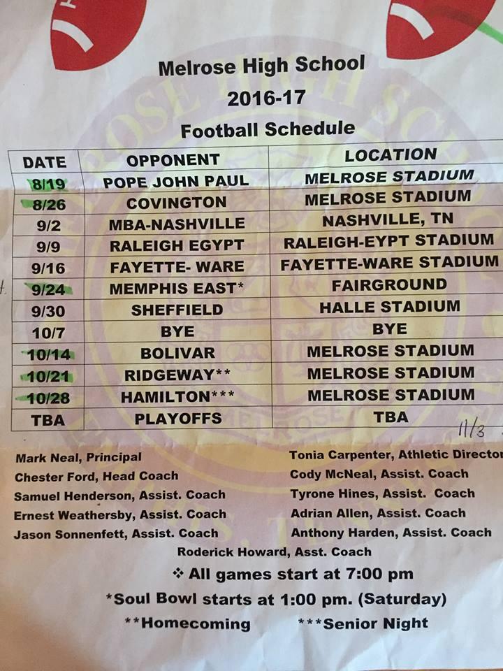 Melrose Wildcat Football Schedule