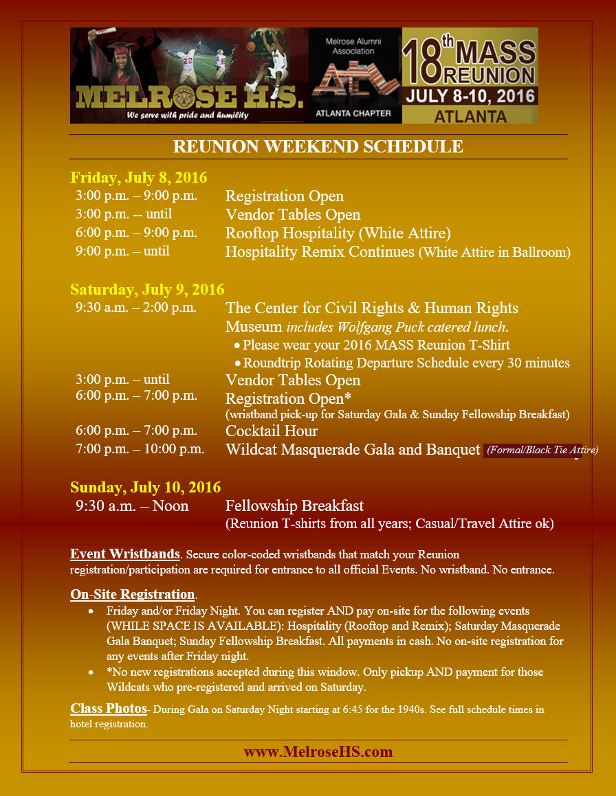 Golden Wildcats MASS Reunion Schedule